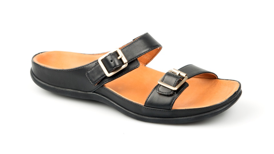 Lombok Buckle Black Sandal. Able to be created with bespoke orthotic built-in by BxClinic and Strive Footwear.