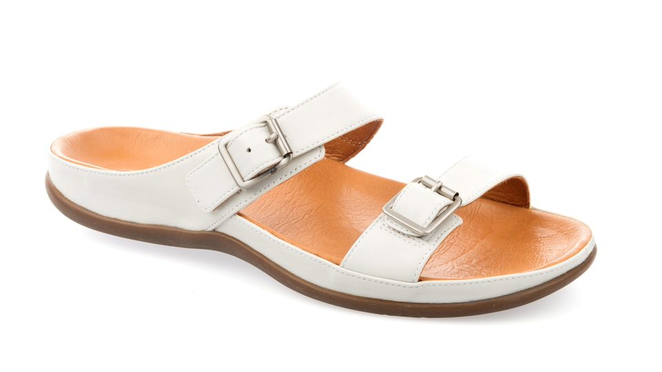 Lombok Buckle Marshmallow Sandal. Able to be created with bespoke orthotic built-in by BxClinic and Strive Footwear.