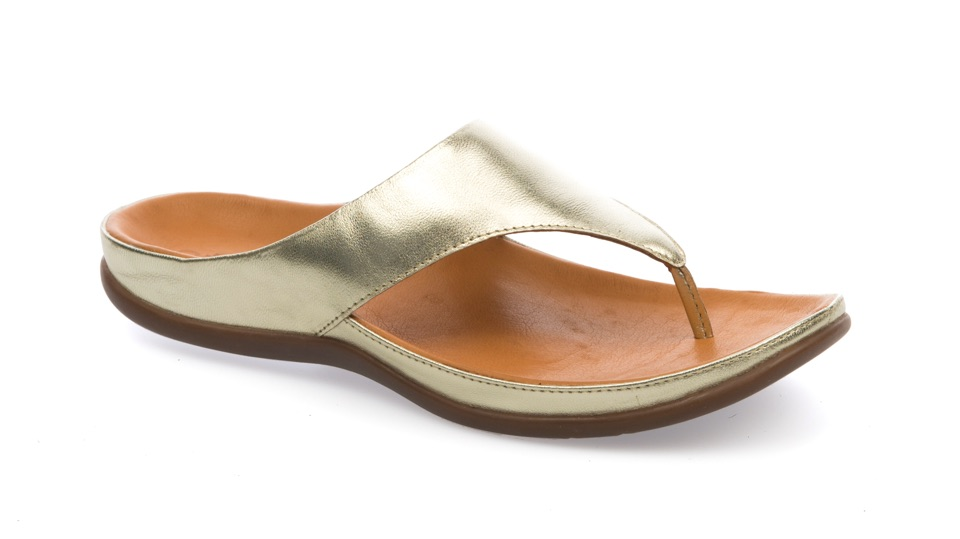 Maui Pale Gold Sandal. Able to be created with bespoke orthotic built-in by BxClinic and Strive Footwear.