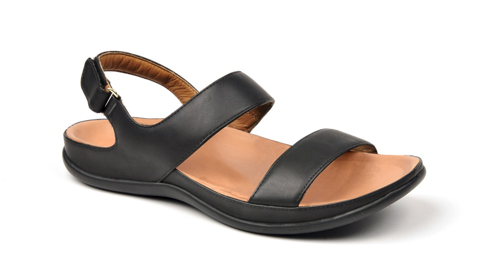 Oahu Black Sandal. Able to be created with bespoke orthotic built-in by BxClinic and Strive Footwear.