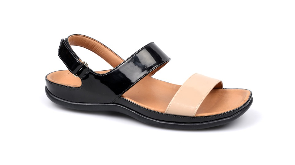 Oahu Black Roebuck Sandal. Able to be created with bespoke orthotic built-in by BxClinic and Strive Footwear.
