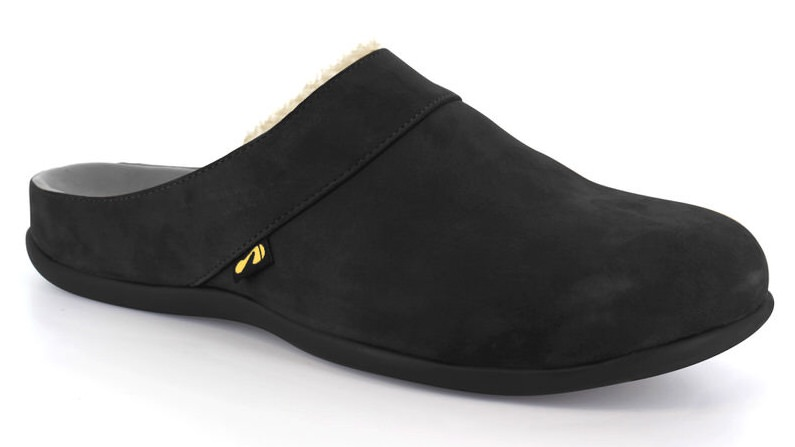 Vienna Slipper in Black. Able to be created with bespoke orthotic built-in by BxClinic and Strive Footwear.